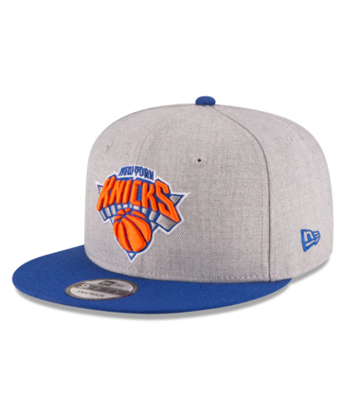 5bd359a47c5 New Era New York Knicks NBA Heather 2Tone Basic 9FIFTY Snapback Hat Heather  Grey Blue