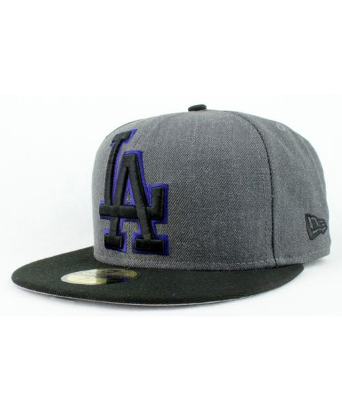 timeless design 7f643 a7803 New Era Los Angeles Dodgers MLB Authentic Heather Grand 59FIFTY Fitted Hat  Heather Graphite Black