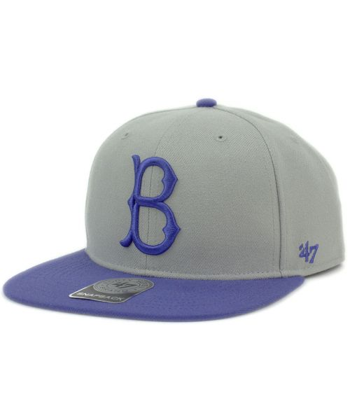 new style d9200 fe42b  47 Brand Brooklyn Dodgers MLB Sure Shot Two Tone Captain Cooperstown  Snapback Hat Grey Blue