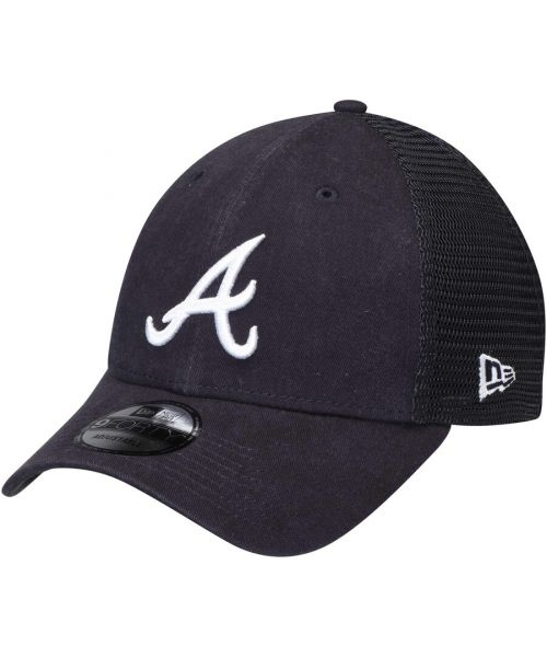 New Era Atlanta Braves MLB Trucker Mesh 9FORTY Snapback Hat Navy Blue