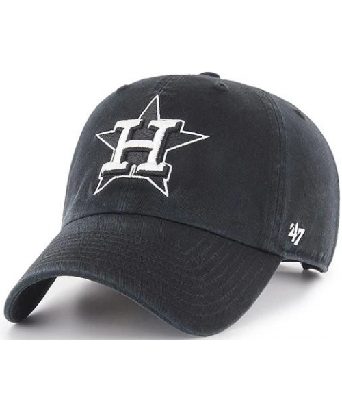 '47 Brand Houston Astros MLB Clean Up Adjustable Strapback Hat Black White Logo