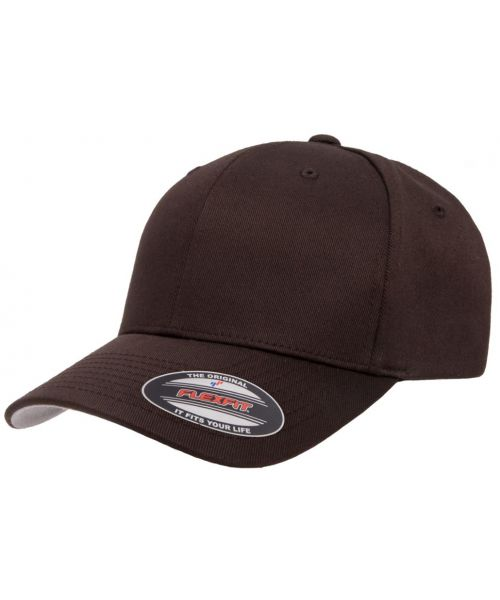 Yupoong FlexFit Wooly Combed Cap Blank Adjustable Stretch Fit Hat Brown