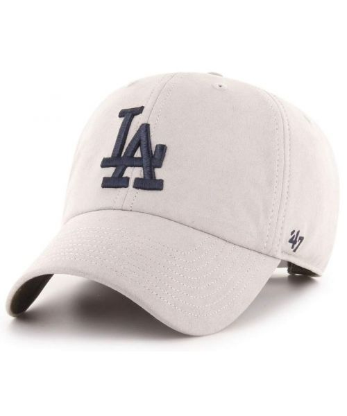 '47 Brand Los Angeles Dodgers MLB Low Suede Clean Up Hat Light Grey Navy Logo