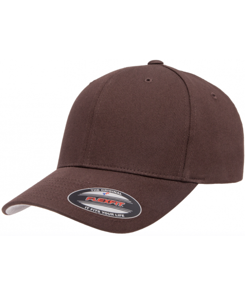 Yupoong V-FlexFit Cotton Twill Cap Blank Adjustable Stretch Fit Hat Brown