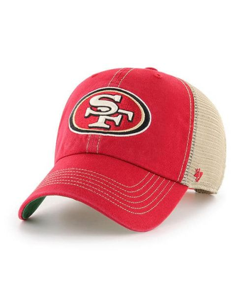 '47 Brand San Francisco 49ers NFL Clean Up Trawler Trucker Snapback Adult Hat Red Tan