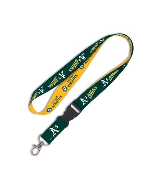 Wincraft Oakland Athletics MLB Authentic Lanyard Keychain Ring ID Ticket Holder Green Yellow