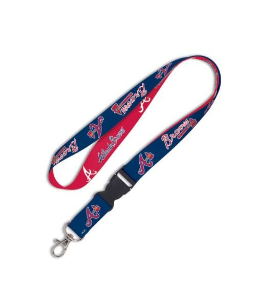 Wincraft Atlanta Braves MLB Authentic Lanyard Keychain Ring ID Ticket Holder Red Blue