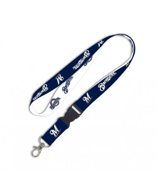 Wincraft Milwaukee Brewers MLB Authentic Lanyard Keychain Ring ID Ticket Holder Blue White