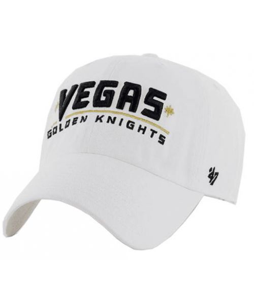 '47 Brand Vegas Golden Knights Vegas Logo NHL Clean Up Strapback Hat White