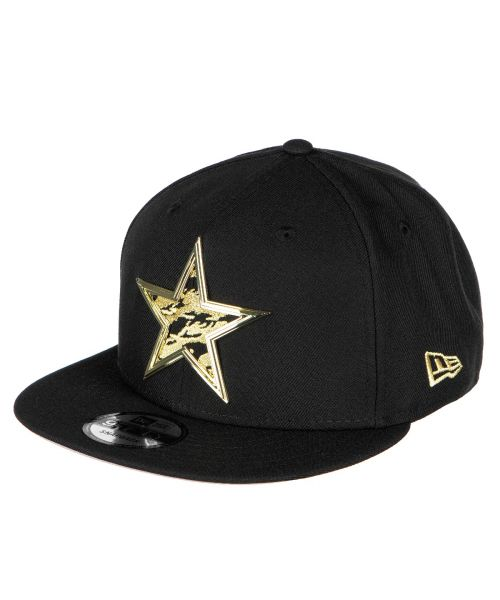 New Era Dallas Cowboys NFL Metal Thread Pattern 9FIFTY Snapback Hat Black Gold Logo