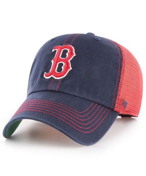 '47 Brand Boston Red Sox MLB Clean Up Trawler Trucker Snapback Adult Hat Navy Blue Red