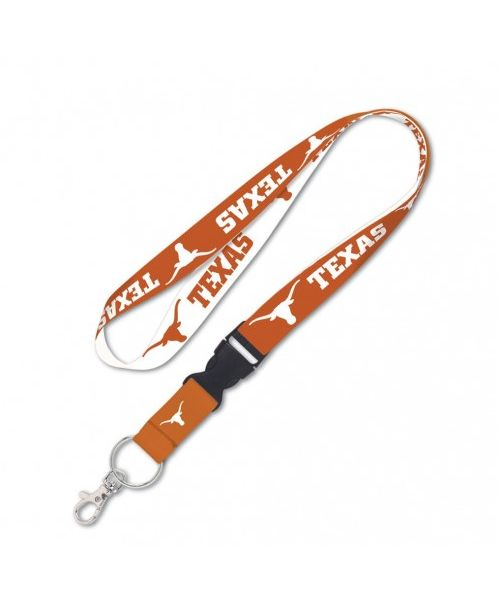Wincraft University of Texas Longhorns NCAA Authentic Lanyard Two Tone with Detachable Buckle White Orange