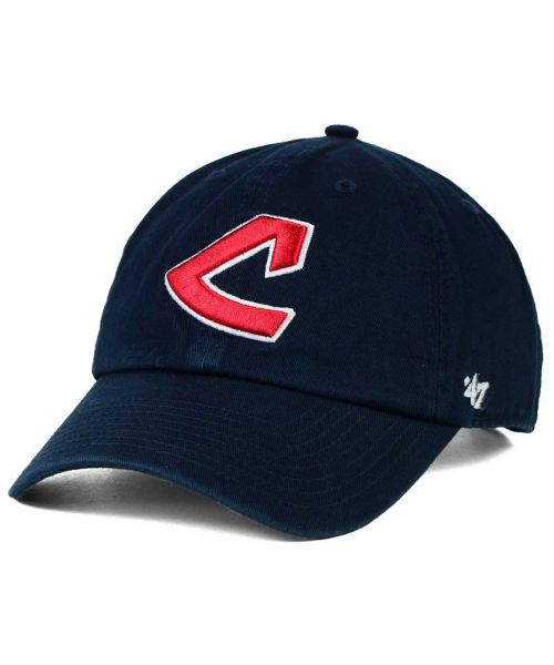 '47 Brand Cleveland Indians MLB Core Clean Up Strapback Hat Navy Blue
