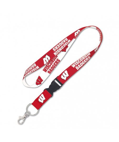 Wincraft Wisconsin Badgers NCAA Authentic Lanyard Two Tone with Detachable Buckle White Red