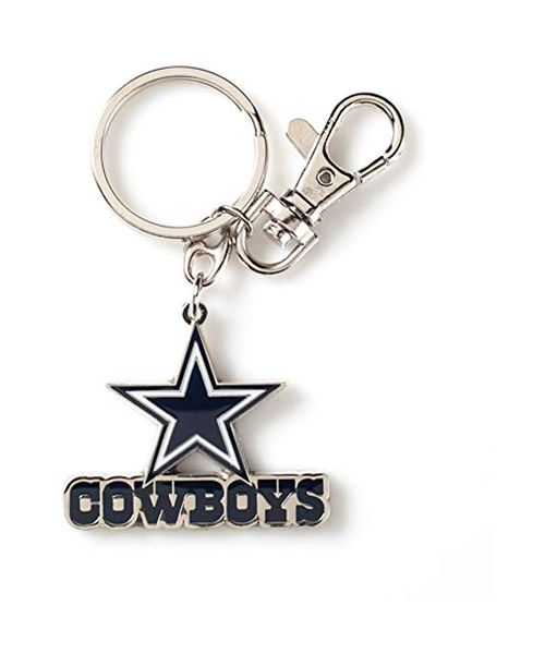 Aminco Dallas Cowboys NFL Heavyweight Metal Team Logo Keychain Navy Blue White