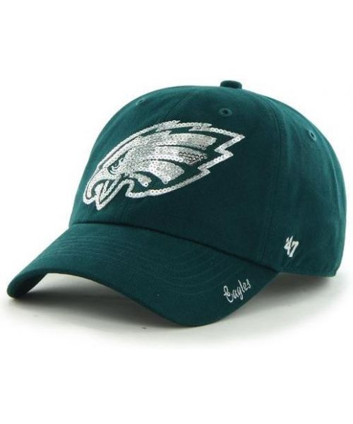 '47 Brand Philadelphia Eagles NFL Clean Up Sparkle Logo WOMENS Strapback Hat Green