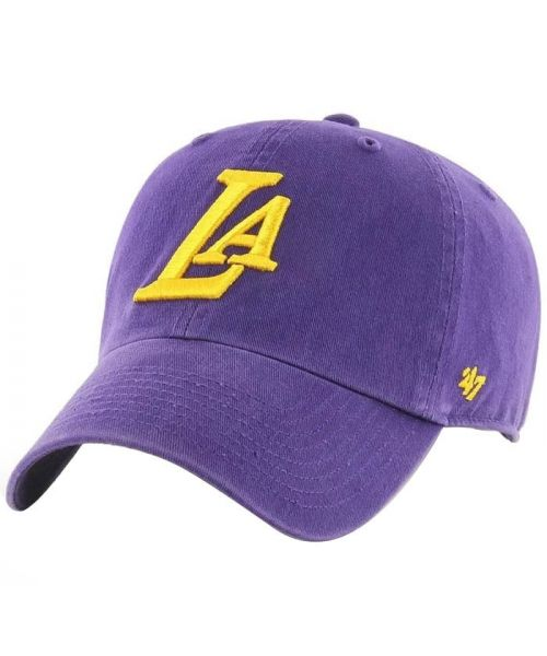'47 Los Angeles Lakers Ligature Clean Up Purple Strapback Adjustable Hat