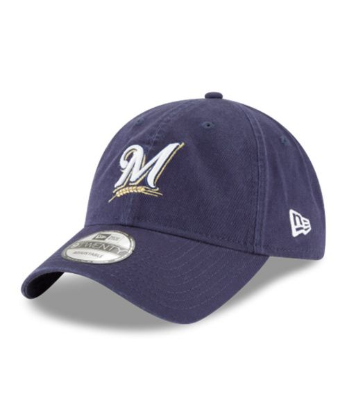 New Era Milwaukee Brewers MLB Core Classic 9TWENTY Adjustable Adult Hat Navy Blue