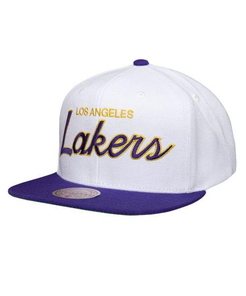 Mitchell & Ness Los Angeles Lakers NBA Heritage Script White Snapback Hat