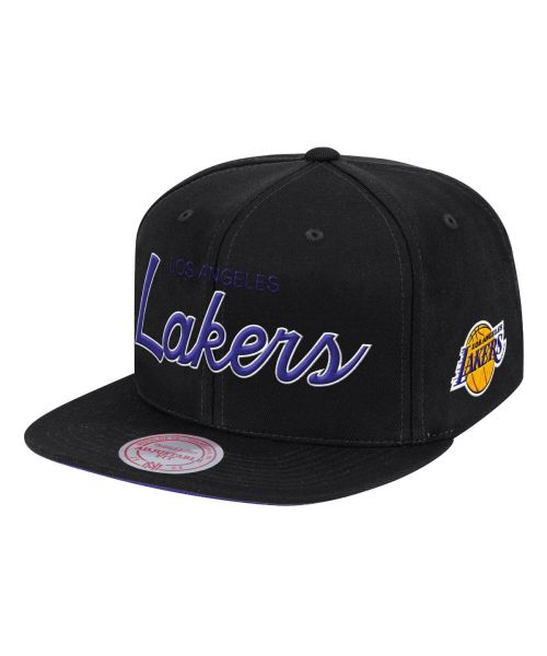 Mitchell & Ness Los Angeles Lakers NBA Foundation Script Black Snapback Hat