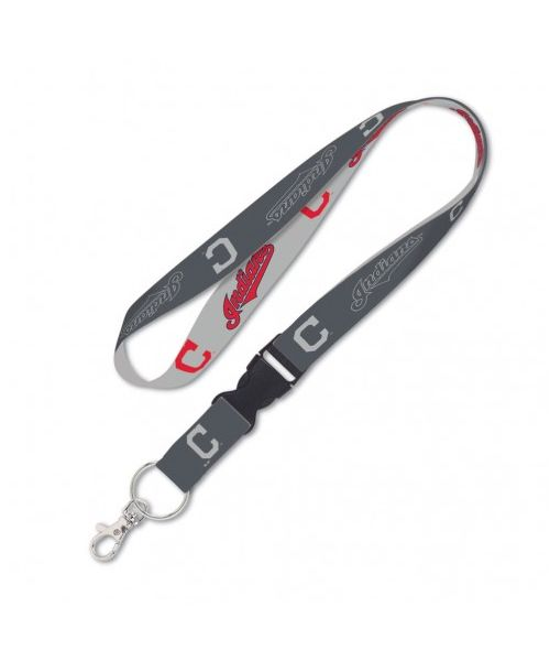 Wincraft Cleveland Indians MLB One Size Lanyard with Detachable Buckle Graphite Gray