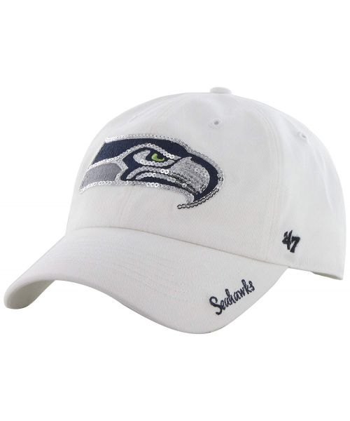 '47 Brand Seattle Seahawks NFL Clean Up Sparkle Logo WOMENS Strapback Hat White