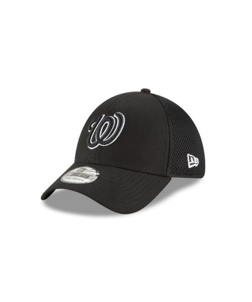 New Era Washington Nationals Black and White Neo 39THIRTY Stretch Fit Hat
