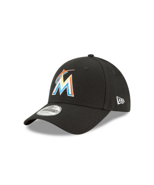 New Era Miami Marlins The League 9FORTY Velcroback Adjustable Black Hat