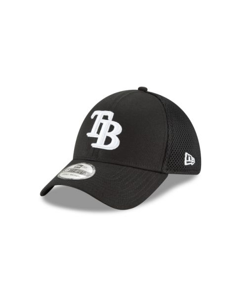 New Era Tampa Bay Rays Black and White Neo 39THIRTY Stretch Fit Hat