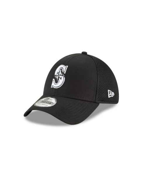 New Era Seattle Mariners Black and White Neo 39THIRTY Stretch Fit Hat