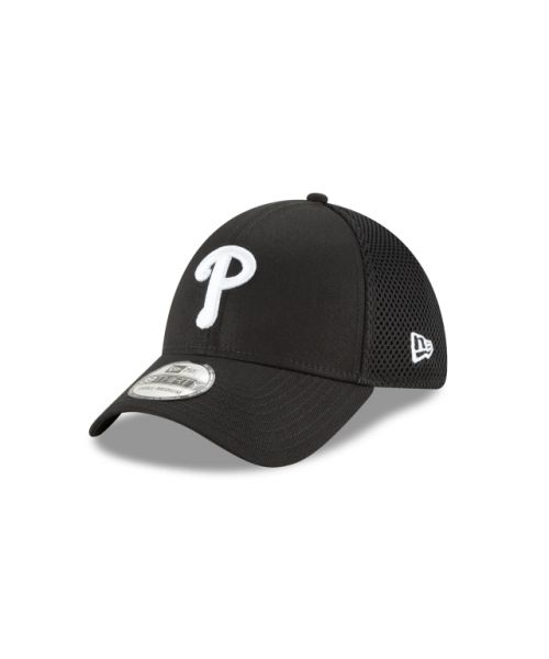 New Era Philadelphia Phillies Black and White Neo 39THIRTY Stretch Fit Hat