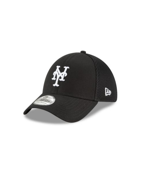 New Era New York Mets Black and White Neo 39THIRTY Stretch Fit Hat