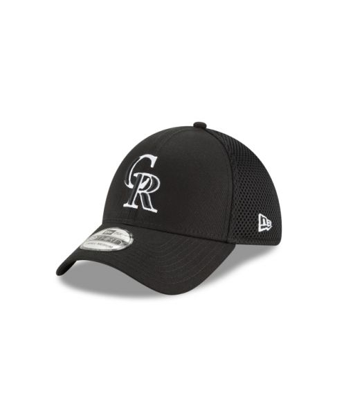 New Era Colorado Rockies Black and White Neo 39THIRTY Stretch Fit Hat
