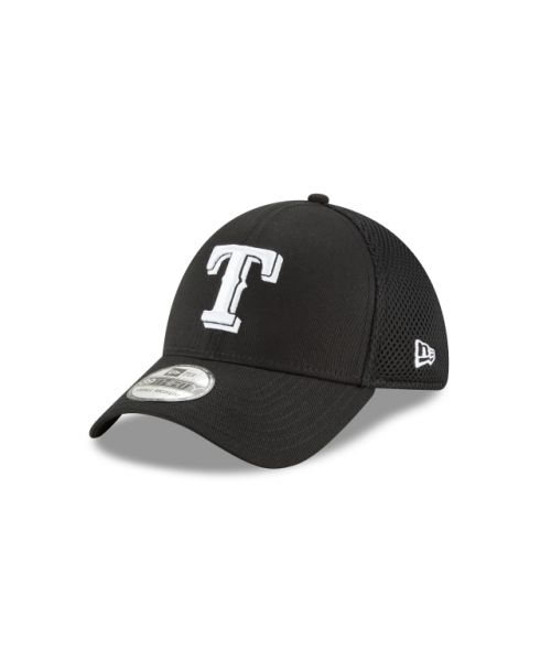 New Era Texas Rangers Black and White Neo 39THIRTY Stretch Fit Hat