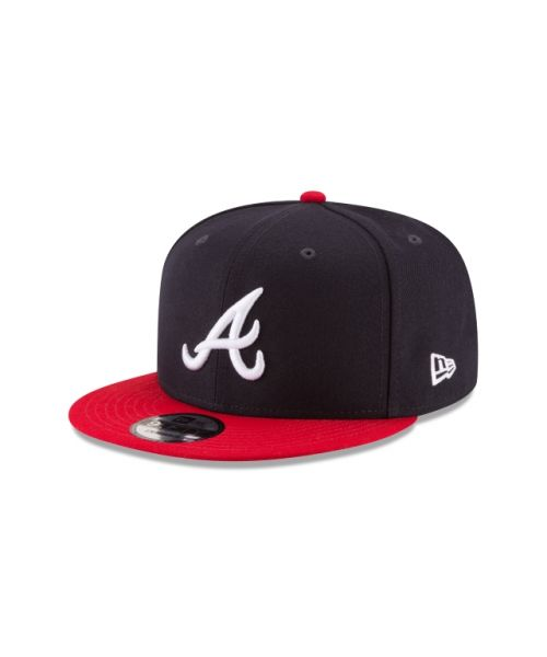 New Era Atlanta Braves MLB Official 2Tone Team Colors Kids 9FIFTY Snapback Hat Navy Blue Red