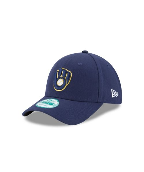 New Era Milwaukee Brewers The League 9FORTY Velcroback Adjustable Navy Blue Hat