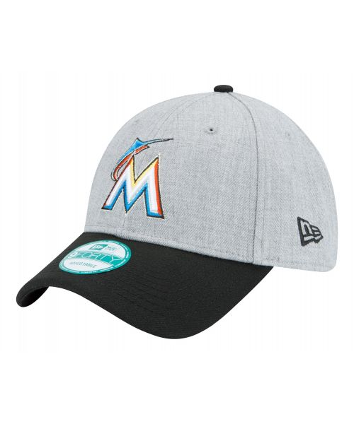 New Era Miami Marlins MLB The League 9FORTY Velcroback Hat Heathered Gray