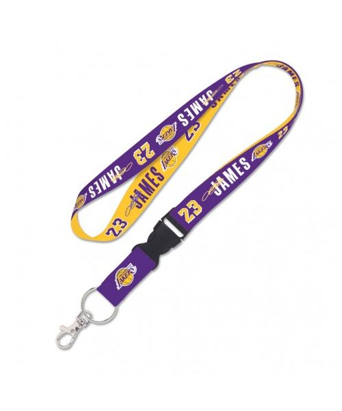 Wincraft Los Angeles Lakers NBA Authentic Lanyard Lebron James 23 Two Tone with Detachable Buckle Purple Yellow