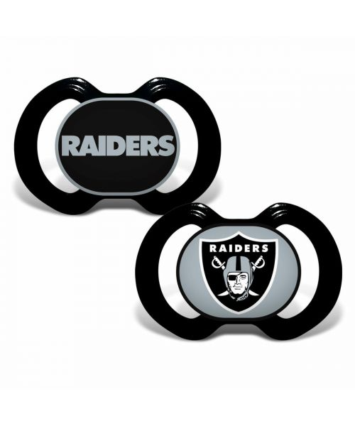 Baby Fanatic Oakland Raiders NFL 2-Pack Pacifier Black Silver