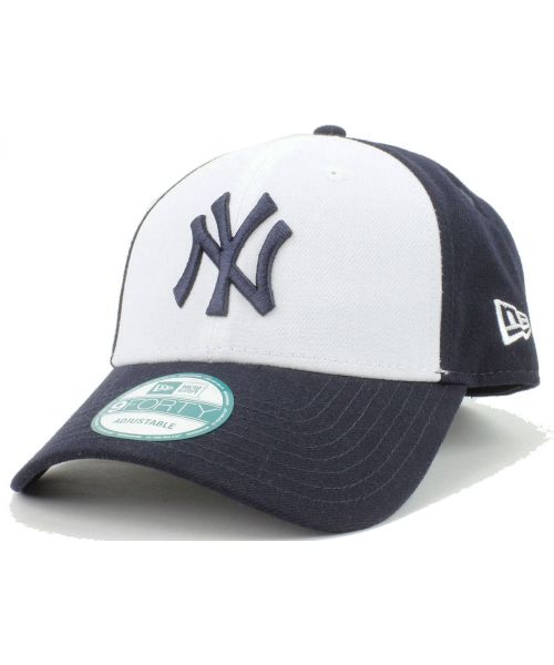 reputable site 56510 f56a1 New Era New York Yankees MLB The League White Team 9Forty Velcroback Hat  White Navy
