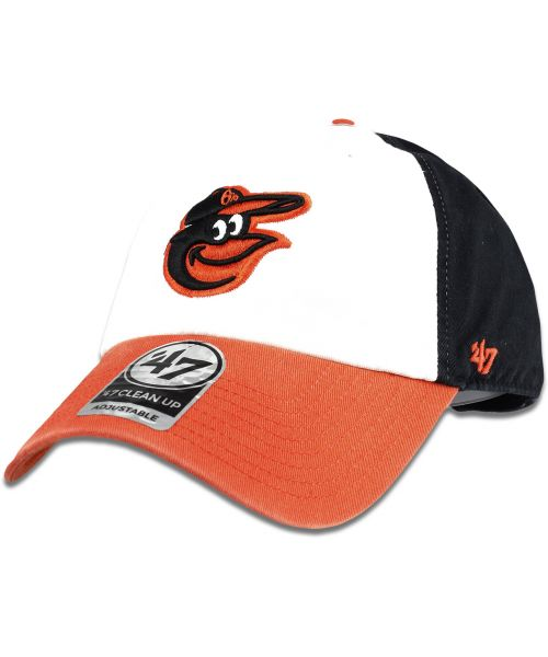 ba6e57503f9  47 Brand Baltimore Orioles MLB Clean Up Strapback Hat White Black Orange
