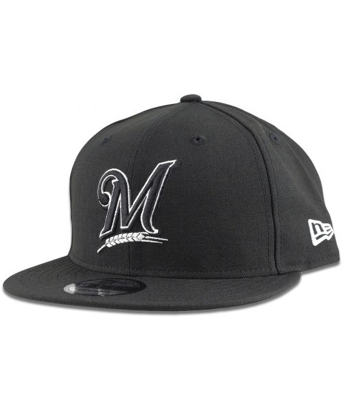 New Era Milwaukee Brewers MLB League Basic 9FIFTY Snapback Hat Black White Outline Logo