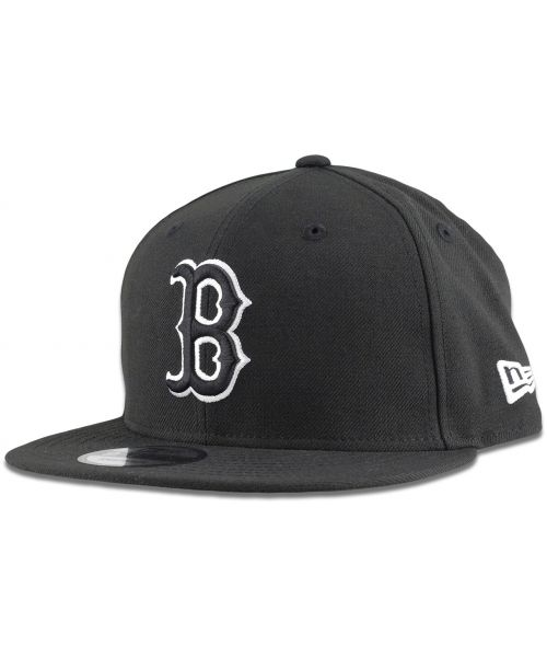 New Era Boston Red Sox MLB League Basic 9FIFTY Snapback Hat Black White Outline Logo