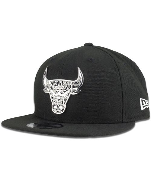 New Era Chicago Bulls NBA Fractured Metal 9FIFTY Snapback Hat Black Silver