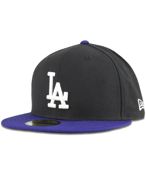 New Era Los Angeles Dodgers MLB League Basic Two Tone 59FIFTY Fitted Hat Black Blue