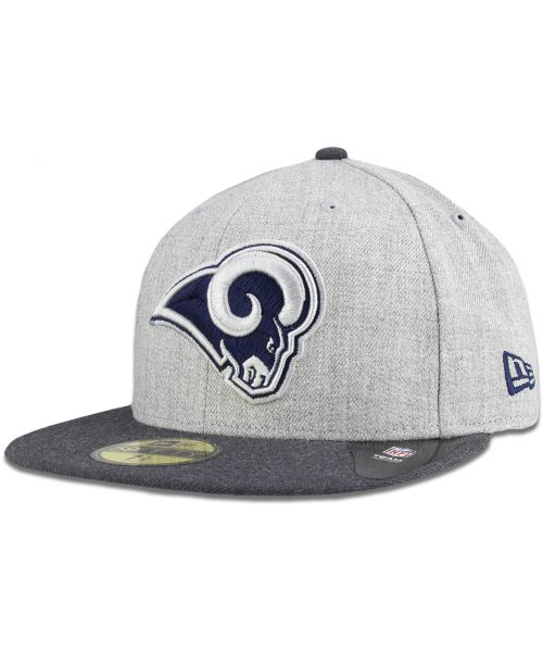 New Era Los Angeles Rams NFL Heather Action Fit 59FIFTY Fitted Hat Heather Grey Graphite