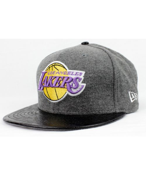 the latest eb99e d4a60 New Era Los Angeles Lakers NBA Authentic Step Out 9FIFTY Strapback Hat Dark  Gray Black