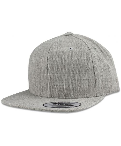 Yupoong The Authentic Premium Blank Snapback Hat Heather Gray
