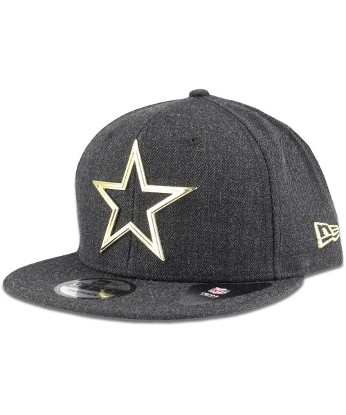 New Era Dallas Cowboys NFL Metal Framed 9FIFTY Snapback Hat Black Gold Logo