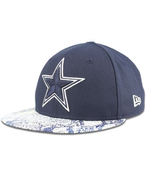 New Era Dallas Cowboys NFL Jr Visor Craze 9FIFTY YOUTH Snapback Hat Navy Blue Snakeskin Blue